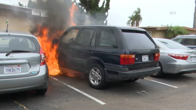 Land Rover fire