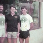 From left: Carl Brandt, Ben Boyd and Rick Vandertie in front of the Mission Beach store about 1981.