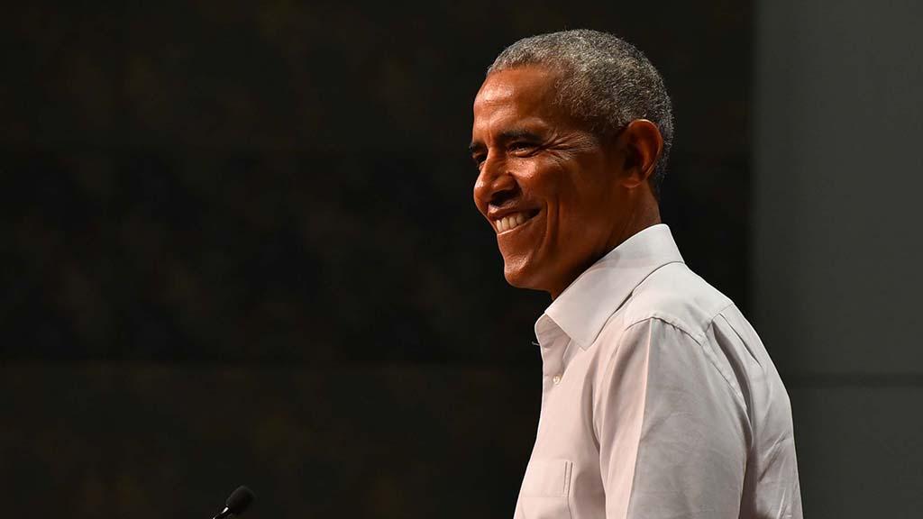Former President Barack Obama speaks in support of Democratic congressional candidates.