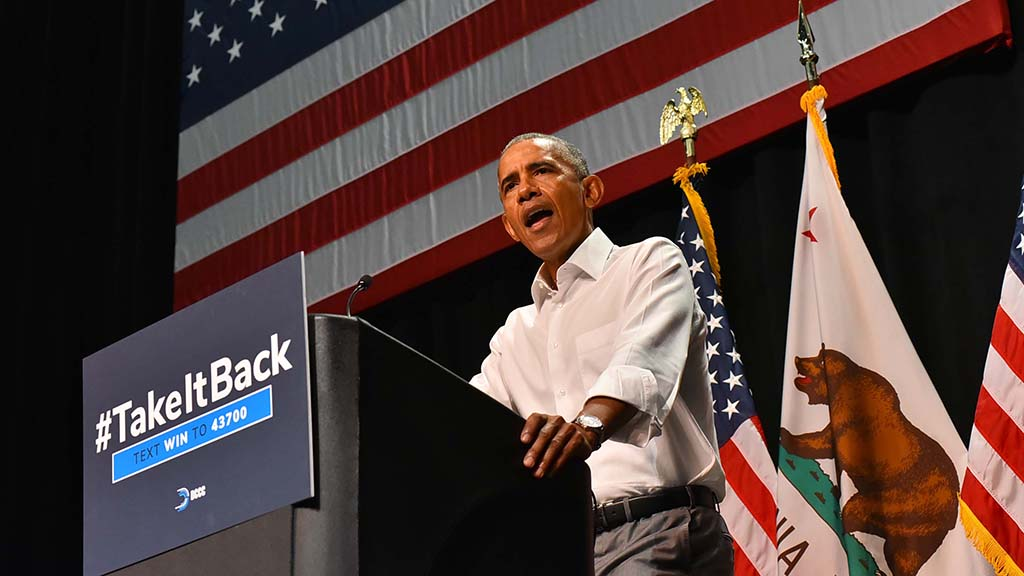 Former President Barack Obama speaks on behalf on Democratic congressional candidates in Anaheim.