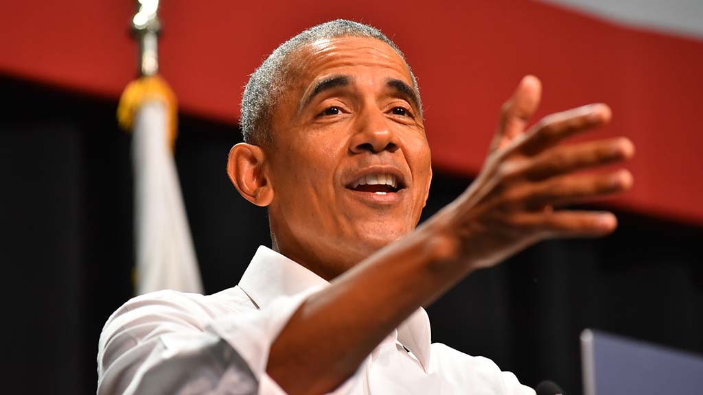 Former President Barack Obama speaks to a crowd of congressional candidate supports in Anaheim.