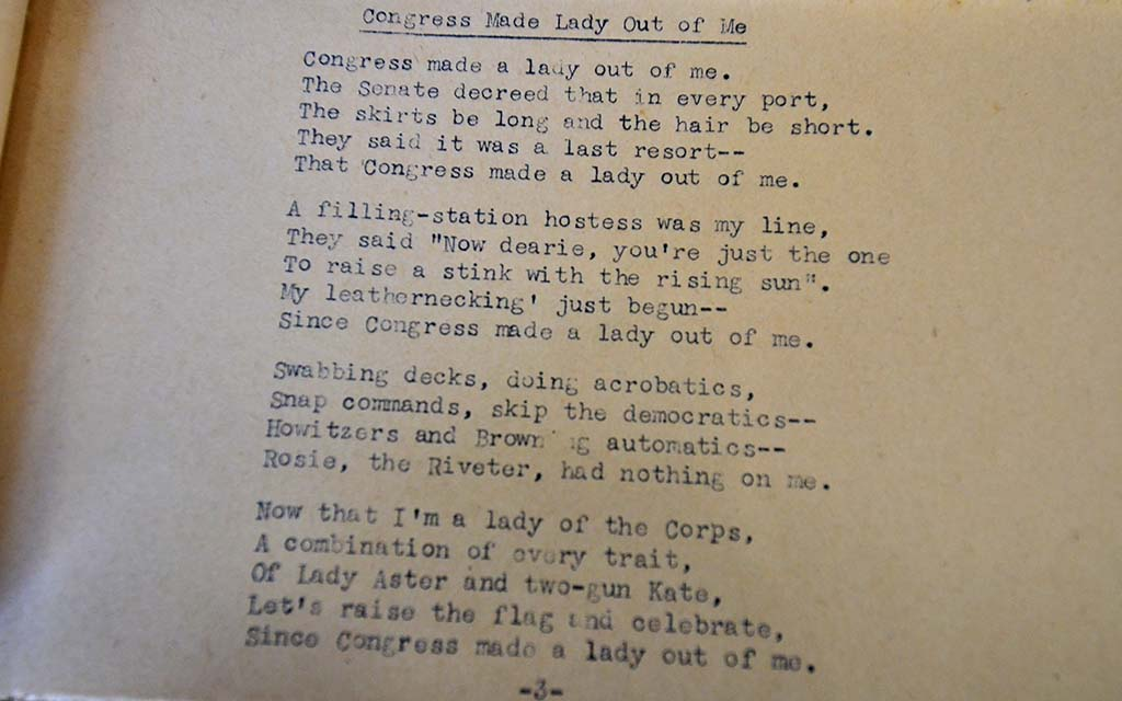 A poem about women in the military is on display in an area honoring women Marines.