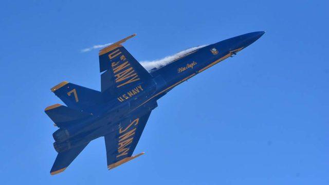 A Navy Blue Angels F/A-18 at the 2018 Miramar Air Show