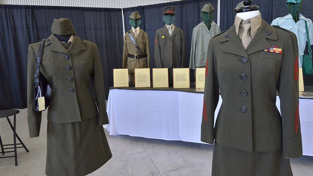 A woman's uniform from the Vietnam War (left) compares to the modern style.