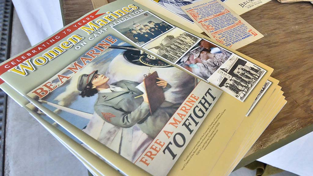 Magazines and pamphlets were on display for The Miramar Air Show's theme for 2018, the celebration of 100 years of women in the Marine Corps.