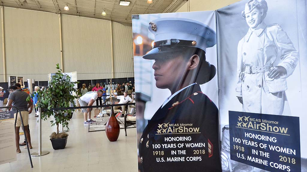 Women Marines are honored at a display in the Air Show Expo building.
