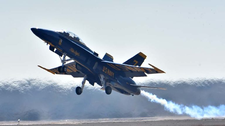 A Blue Angel takes off at the beginning of the performance.