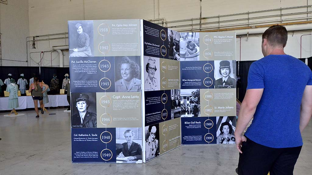 The history of women in the Marine Corps is presented at the 2018 Miramar Air Show.