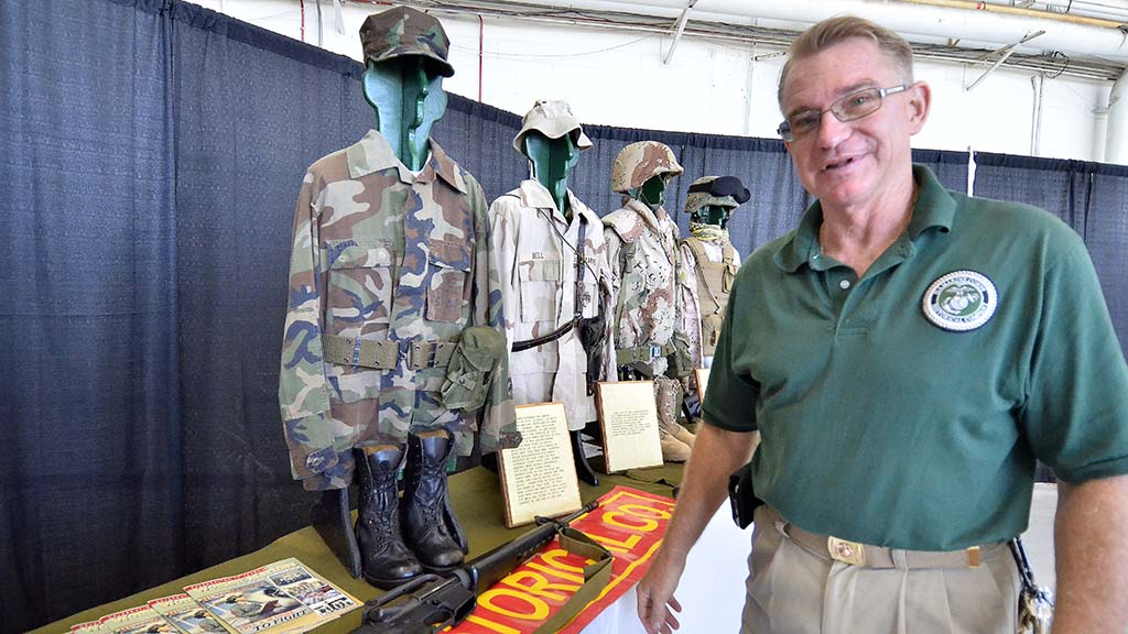 Reired. Master Sgt. Alfred Jaenichen has collected the women's uniforms for the last few years.