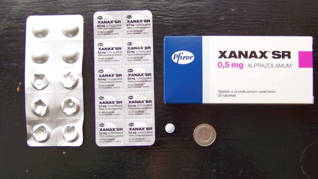 Xanax pills and packagingh