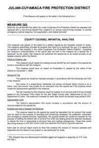 Ballot description of Measure QQ for the Julian-Cuyamaca Fire Protection District.
