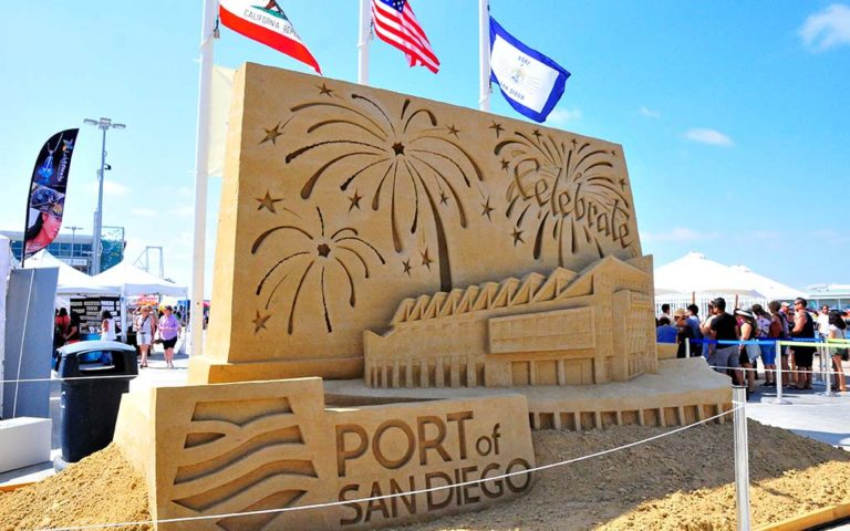 The U.S. Sand Sculpting Challenge's art work can be seen through Labor Day at Broadway Pier.