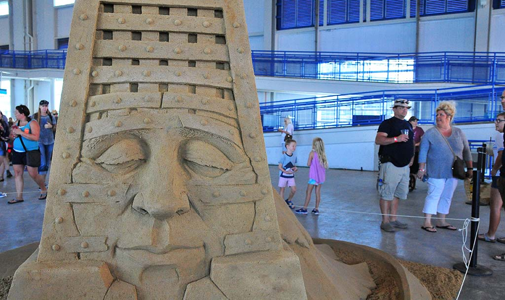 "Dan Belcher's ""Liberation"" is one of a dozen sand sculptures featured at the U.S. Sand Sculpting Challenge at Broadway Pier."