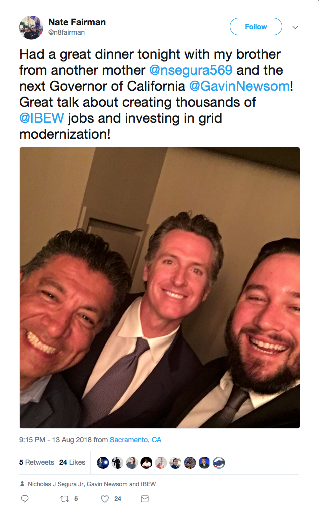 Tweet of a picture of Segura with Gavin Newsom