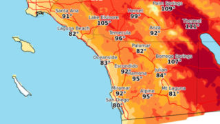 May showing forecast high temperatures