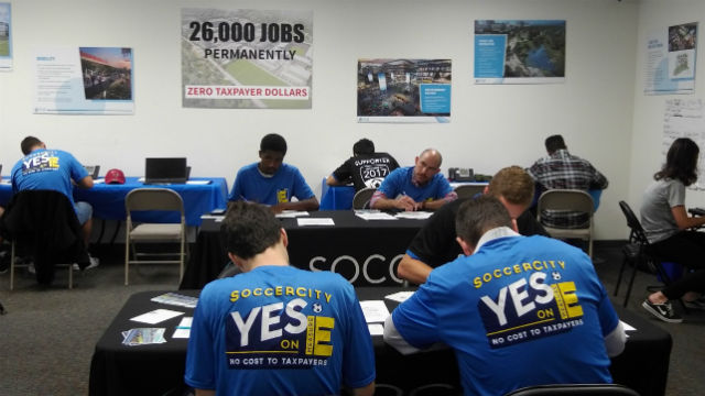 Volunteers at SoccerCity campaign office