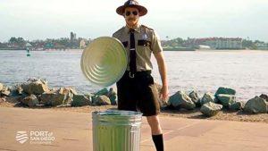 """Luke DePron of San Diego portrays """"Trash Trooper Troy"""" in 2018 Port of San Diego anti-litter video."""