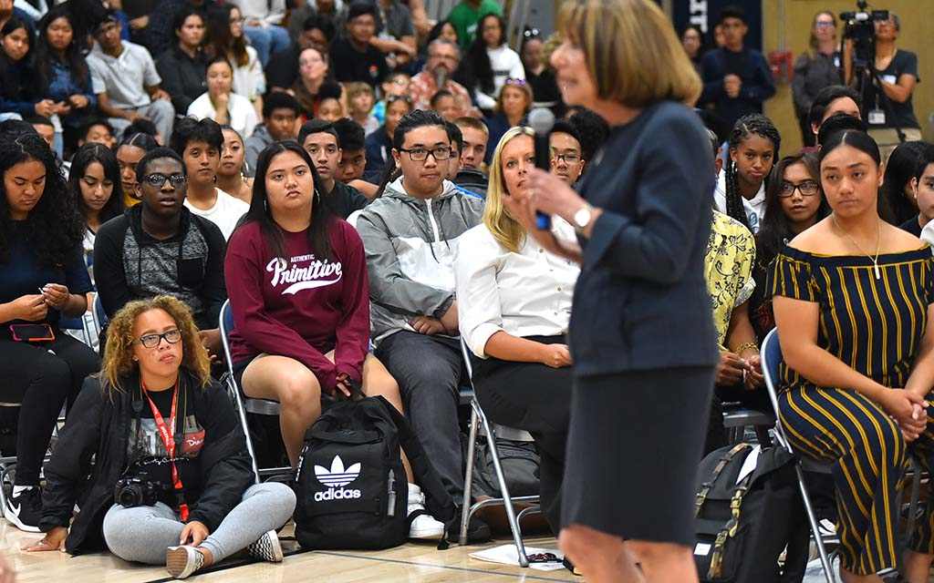 Morse High School students listen to Rep. Susan Davis of the 53rd District, which includes their neighborhood.