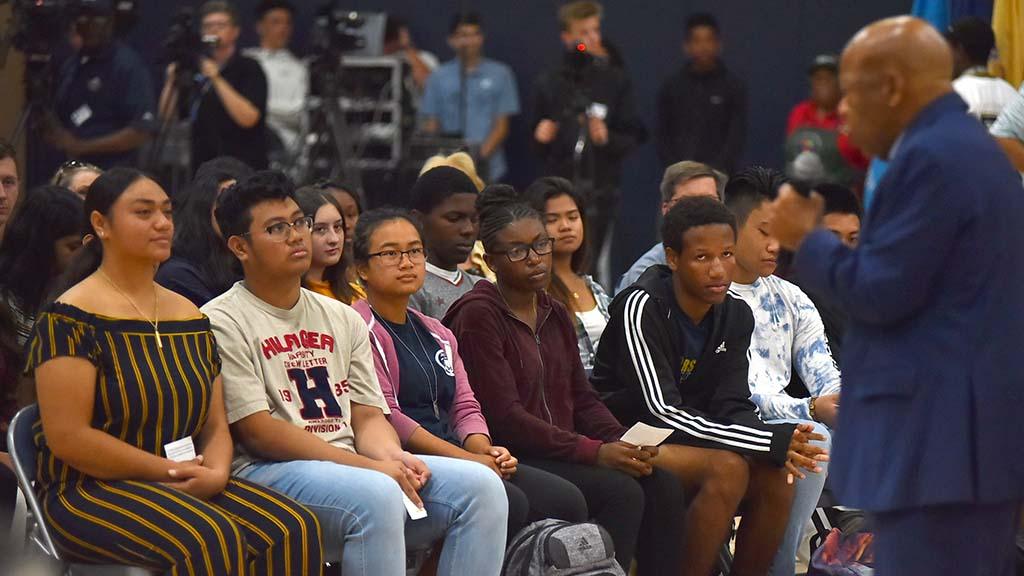 Rep. John Lewis responds to Morse High School student questions — given time for only two.