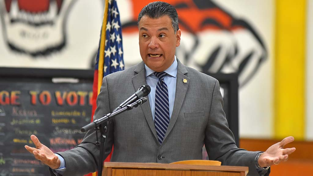 California Secretary of State Alex Padilla told students the American dream was under attack by Washington.