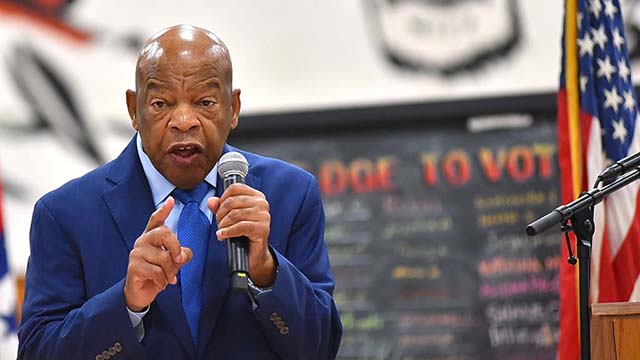 """Rep. John Lewis speaks to Morse High School students who read his biographical graphic novel """"March."""""""