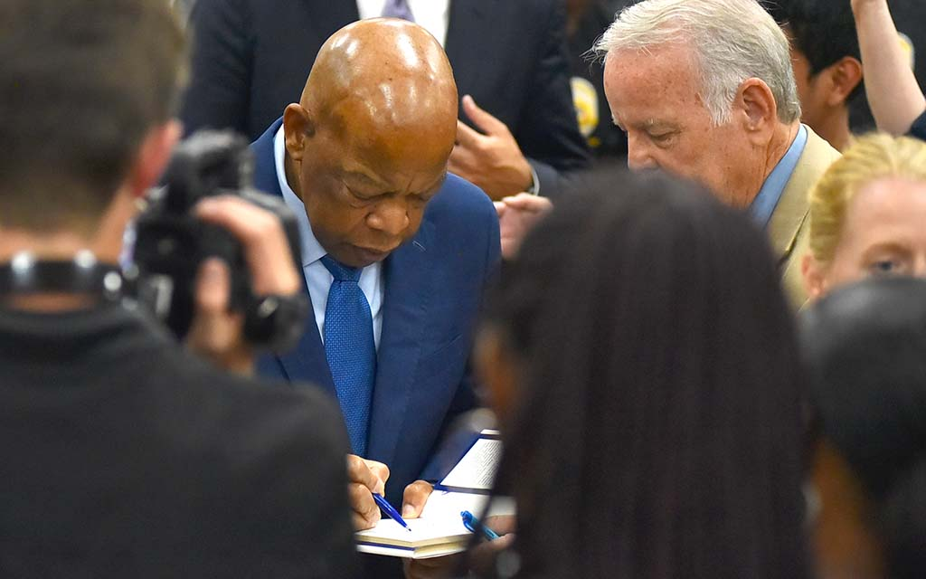 Rep. John Lewis signed autographs for students and adults alike.