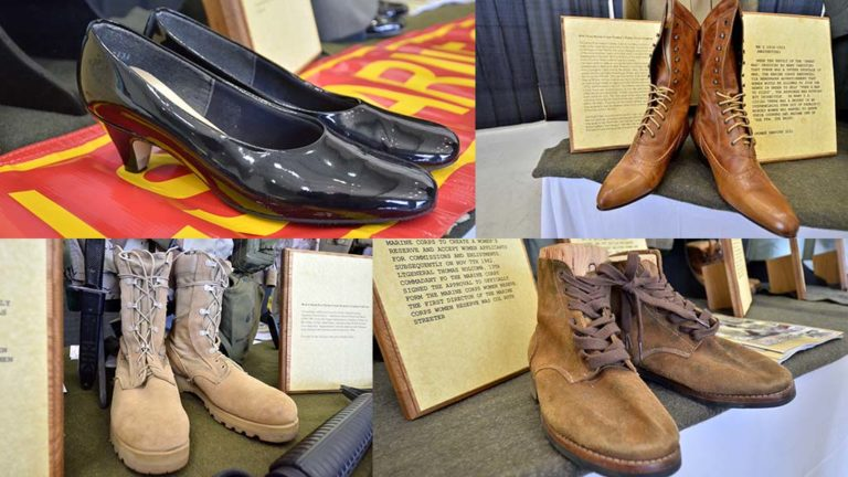 Women's military footwear display includes boots from World War I (top right) and World War II (bottm right) and (top left) Vietnam to present and (bottom left) Gulf War boots.