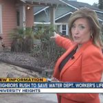 TV reporter points to scene of shooting in University Heights.