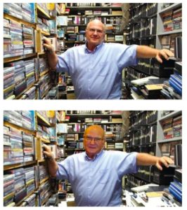 Five years ago, Bauder's head was cloned atop of Kensington Video staffer's body in the San Diego Reader.