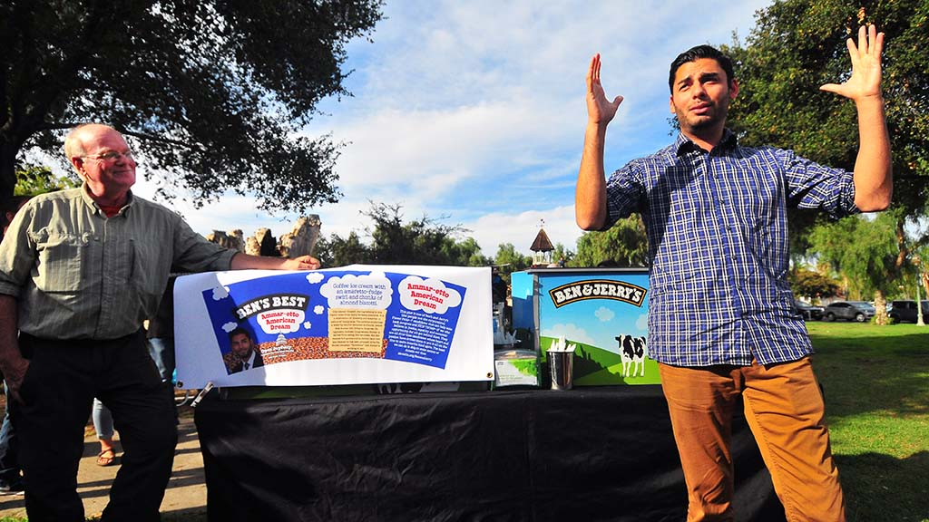 50th congressional district Ammar Campa-Najjar (right) speaks to a group as Ben Cohen of Ben and Jerry's Ice Cream watches.