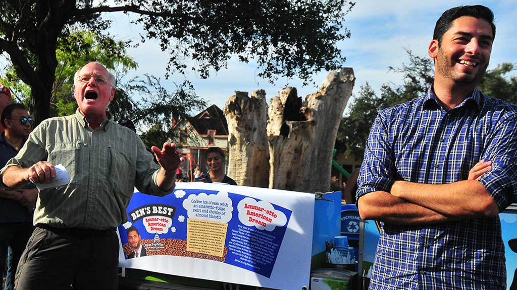 Ben Cohen of Ben and Jerry's Ice Cream unveils his new ice cream flavor for candidate Ammar Campa-Najjar.