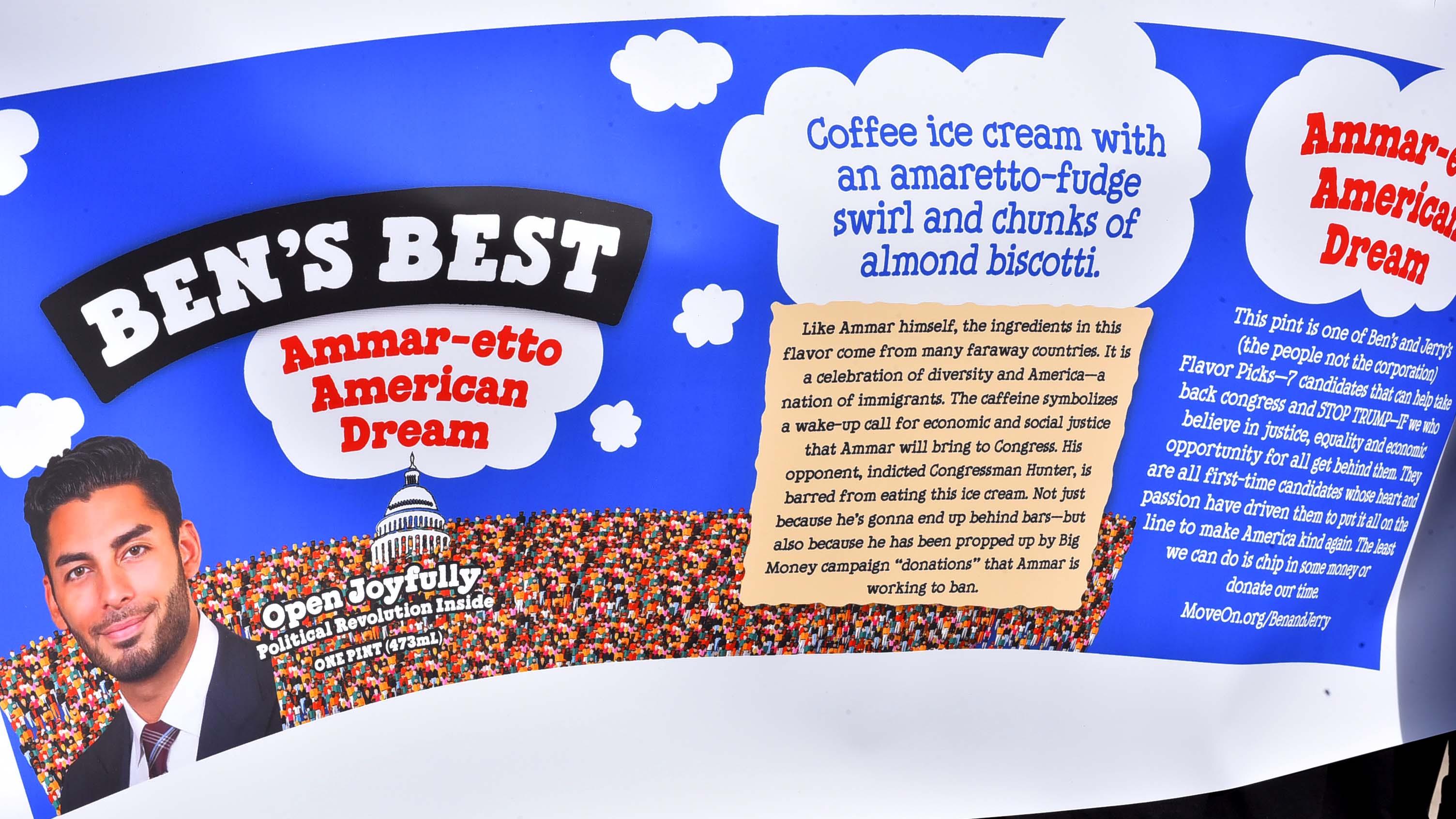The custom ice cream flavor for Campa-Nijjar, under the label Ben's Best, contains amaretto-fudge, biscotti and coffee.