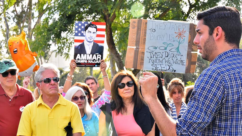 Ammar Campa-Najjar stresses the necessity for supporters to vote in next week's midterm election.