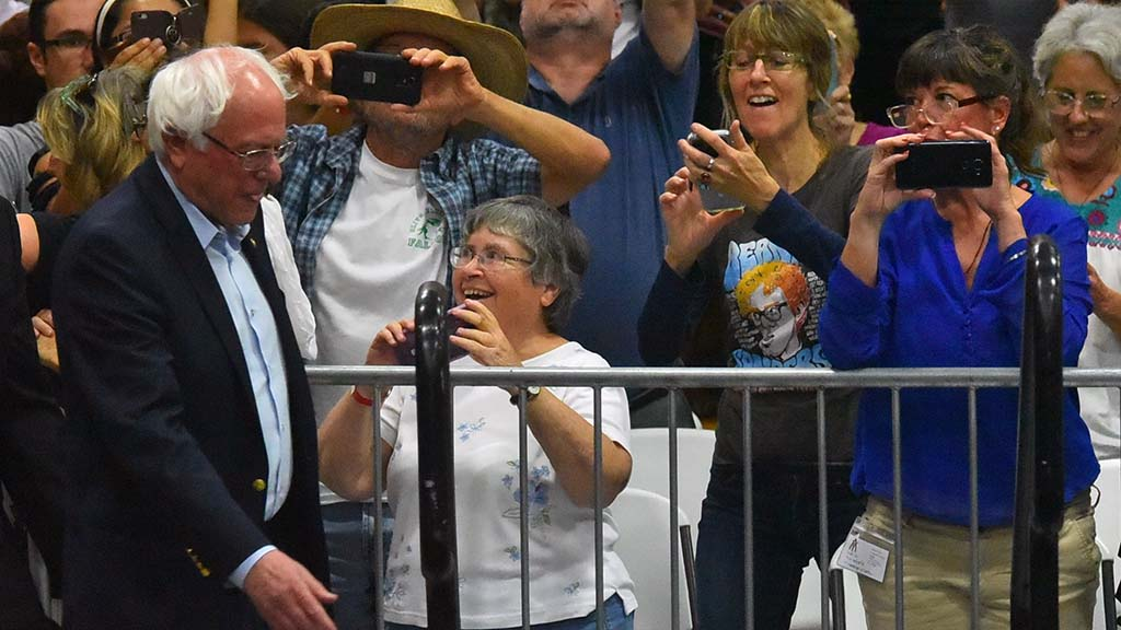 Supporters appear delighted to see Sen. Bernie Sanders at a rally in Oceanside.