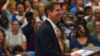 Congressional candidate Mike Levin gave a 7 1/2-minute talk before Bernie Sanders took the stage.