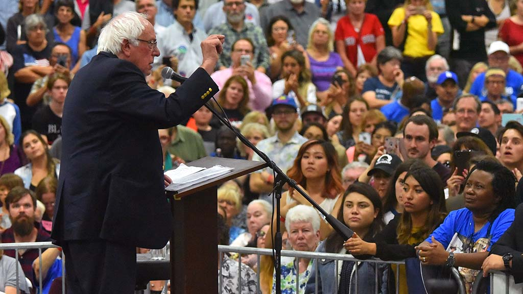 A gym capacity 1,600 supporters turned out to hear Sen. Bernie Sanders at a get-out-the-vote rally in Oceanside.