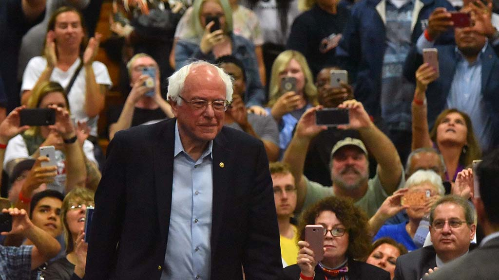 Supporters photograph and videotape the Oceanside rally with Sen. Bernie Sanders.