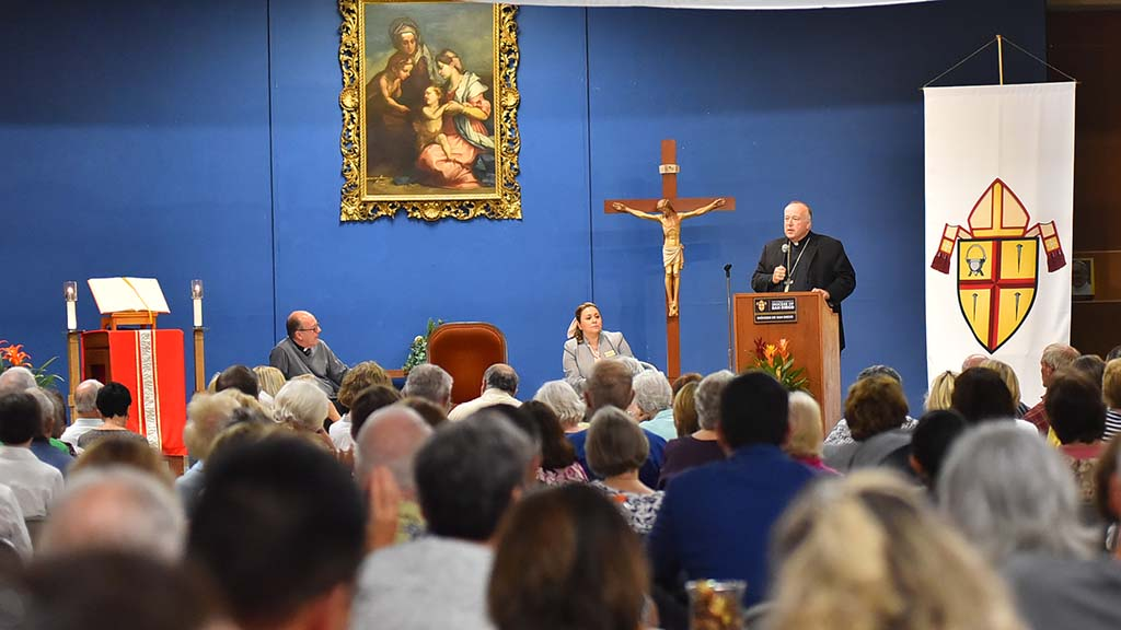 More than 300 people from numerous parishes went to Our Lady of Confidence Church to hear Bishop McElroy speak about clergy abuse.