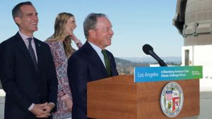 Former New York Mayor Michael Bloomberg announces winners of climate challenge with Los Angeles Mayor Eric Garcetti.