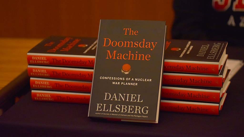 "Copies of Daniel Ellsberg's latest book, ""The Doomsday Machine,"" were available for purchase at SDSU."