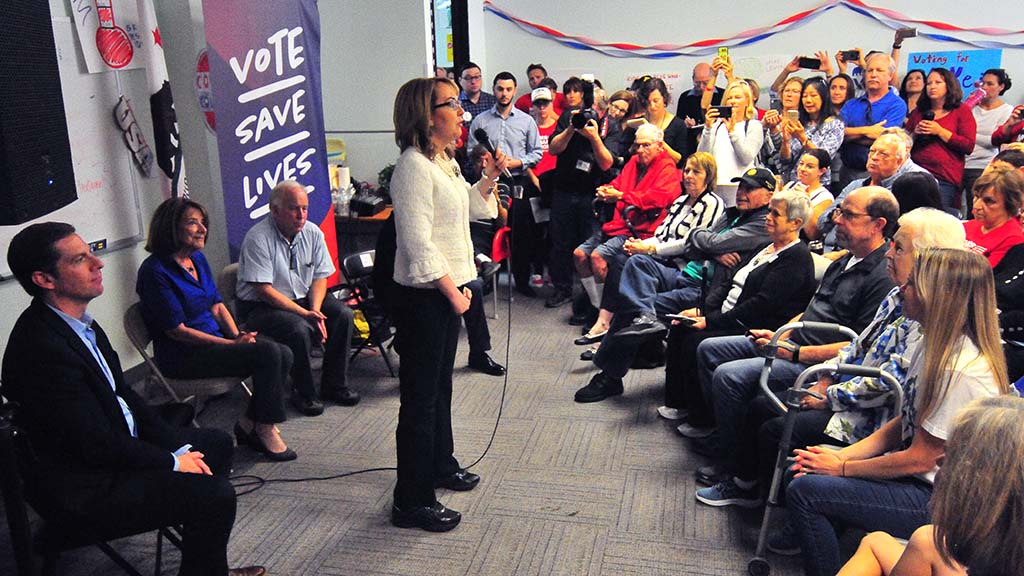 Former Rep. Gabriel Giffords gave a brief speech, encouraging people to support candidates who believe in gun control legislation.