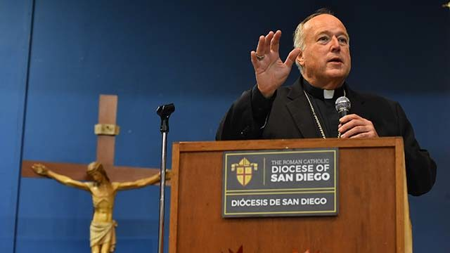 San Diego Bishop Robert McElroy spoke at the first of eight listening sessions about clergy abuse.