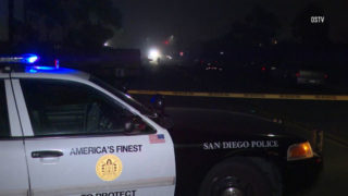 San Diego Police cruiser at the scene of the shooting