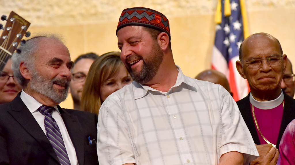 Rabbi Michael Berk (left) and Imam Taha Hassane of the Islamic Center of San Diego have joined in previous interfaith events.