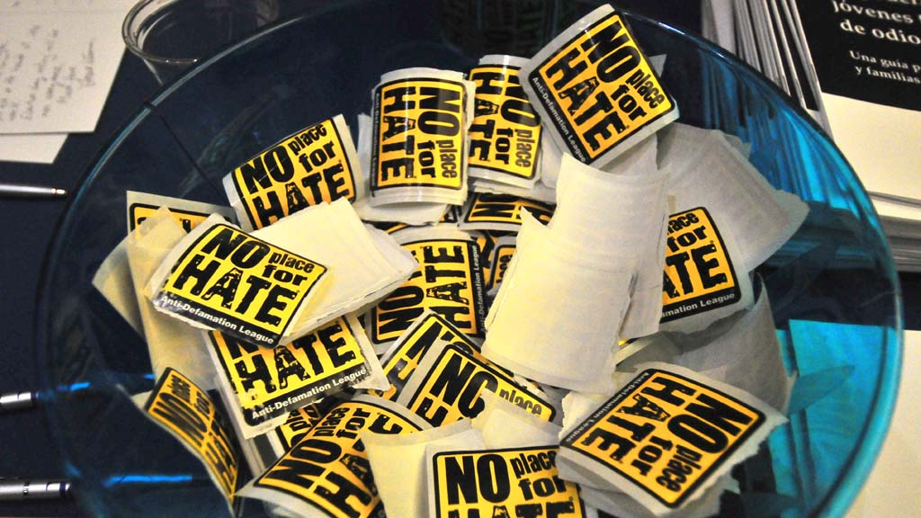 """No Place for Hate"" stickers were available at several ADL tables outside the sanctuary."