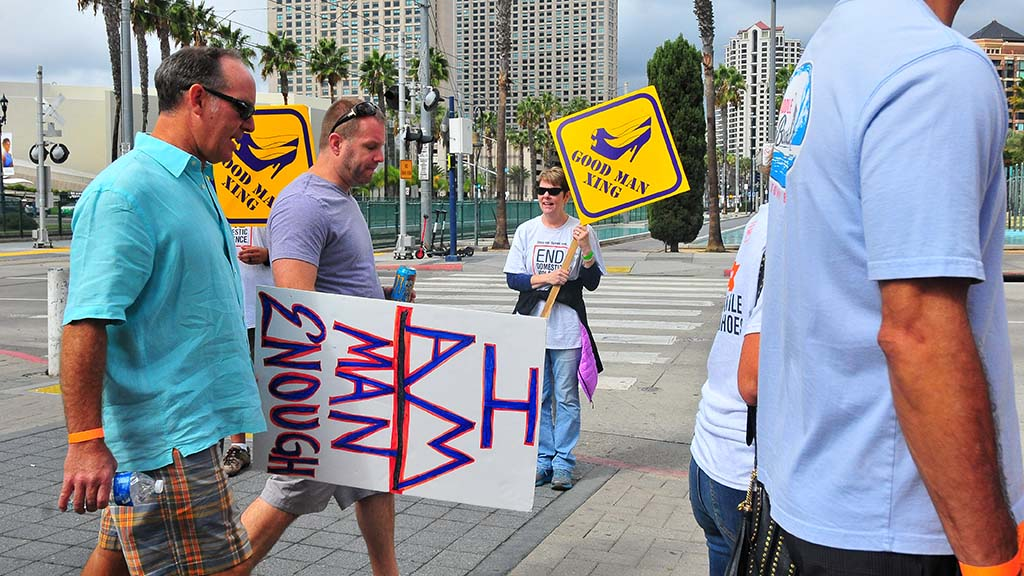 Volunteers helped direct the one-mile walk in downtown San Diego, leaving from Martin Luther King Promenade Park.