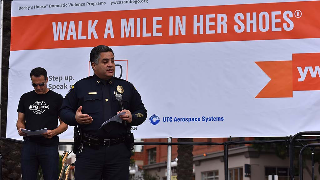 San Diego Capt. Bernie Colon talked to walkers about domestic violence prevalence in the city.
