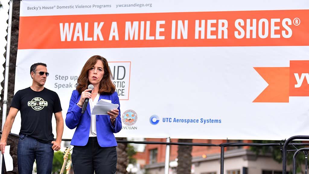 San Diego City Attorney Mara Elliott spoke about efforts to prosecute domestic violence abusers.