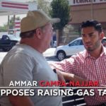 Democrat Ammar Campa-Najjar is shown opposing raising gas tax in recent ad.
