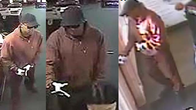 "Surveillace photos of ""Burgundy Bandit"" sought by FBI."
